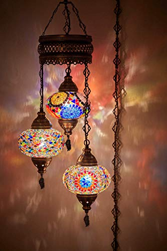 Demmex Turkish Moroccan Mosaic Chandelier with 15feet Cord Cable Chain & 3 Big Globes (Multicolor (Plug in))