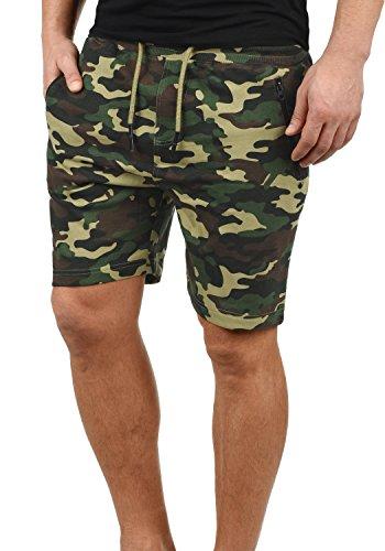 !Solid Taras Herren Sweatshorts Kurze Hose Jogginghose Mit Verschließbaren Eingriffstaschen Und Kordel Regular Fit, Größe:M, Farbe:Ivy Green Camouflage (C3797)
