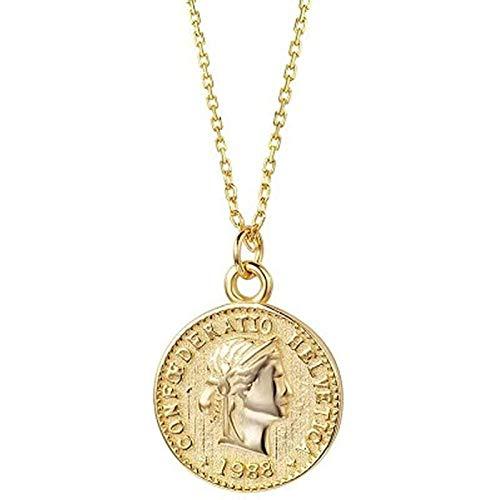 Lavquz Sra. Hombres 925 Monedas de Plata esterlina Collar Collar Enlaces Redondos Circular Cadena Medalla Memorial Reversible Hace Collar Caja de Regalo de joyería de Moda