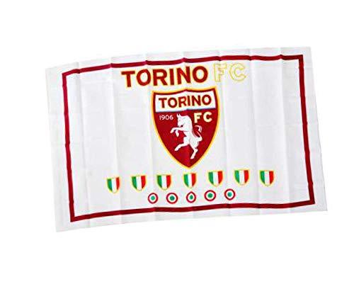 Bandiera Torino Toro Ufficiale Grande cm. 90 x 145 Bianca Scudetti Flag BGTRBISC1210