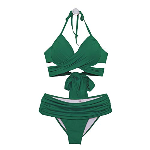 NEMACH Bikinis, Dunkelgrüner sexy Dicker stählerner straßenloser Brustbikinibügelrieme