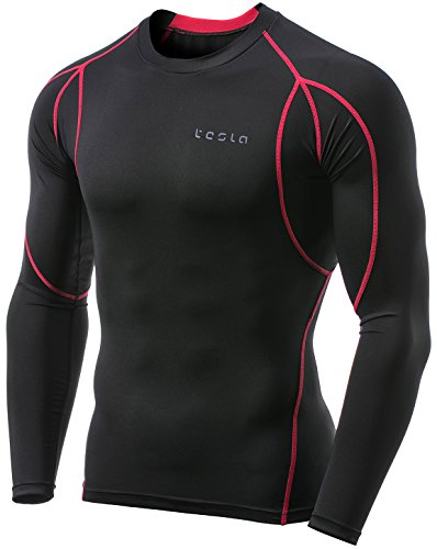 Tesla TM-MUD11-MDG_Large Men's Long Sleeve T-Shirt Baselayer Cool Dry Compression Top MUD11