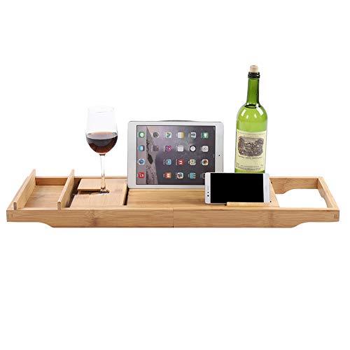 Cocoarm badrek, bamboe, uittrekbaar badrek met boekensteun en glashouder, badkuiptafel, badbrug, 75-110,8 x 22,5 x 21 cm