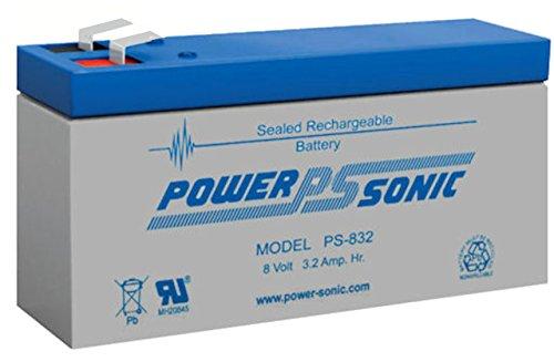 Batería de plomo–Batería Power Sonic PS 832–Power Sonic ps832–Power Sonic PS de 832–8V 3,2Ah–Rechargeable Sealed Lead Acid (SLA) battery–/plomo AGM