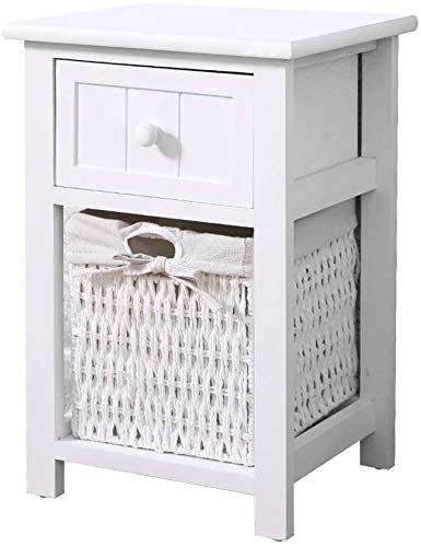 LWYQQNY Bedside white wooden bedside cabinet lockers, drawers and movable with wicker basket weaving, living room for the bedroom,White