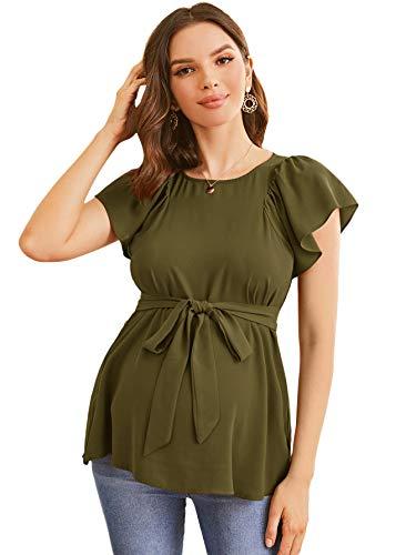 MakeMeChic Blusa de gasa con cuello redondo y mangas de mariposa para mujer, Verde ejército, XXL