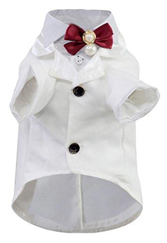 EOZY-Blazer da Cane Pets Abito Sposo Matrimonio Cravatta Giacca Bianco Petto di 38cm