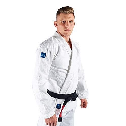 Manto Base BJJ Gi Blanco Azul V2 Brasileño Uniforme Kimono Free Belt, Color Blanco/Azul, tamaño a1l