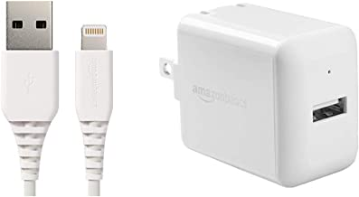 AmazonBasics Lightning to USB A Cable, MFi Certified iPhone Charger, White, 6 Foot & One-Port USB Wall Charger for Phone, iPad, and Tablet, 2.4 Amp, White