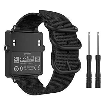 MoKo Watch Band for Garmin Vivoactive Acetate Fine Woven Nylon Adjustable Replacement Strap for Garmin Vivoactive/Vivoactive Acetate Sports Smart Band - Black
