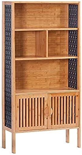 Lagerregal FEI Massivholz Bücherregal Bücherregal Einfach mit Tür Einfache Kombination Kabinett Schlafzimmer Kreative Bücherregal