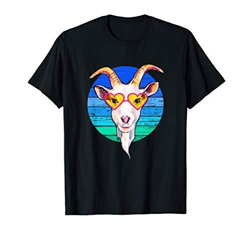 Divertida cabra loca con gafas en estilo retro vintage Camiseta