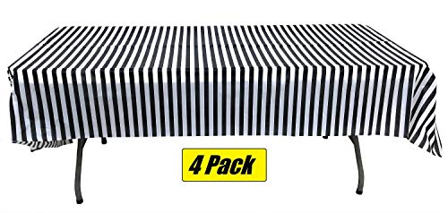 Pack of 4 Plastic Black and White Stripe Print Tablecloths - 4 Pack - Picnic Table Covers,birthday,weddings,office,parties for any occassion