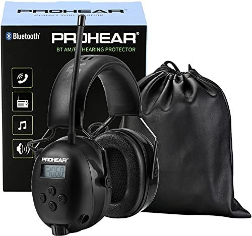 PROHEAR 033 Bluetooth 5.0 Recargable Casco de Protección Auditiva con Radio, AM FM Protectores Auditivos con Bolsa Portátil, SNR 30dB para Segar, Construcción, Carpintería, Negro