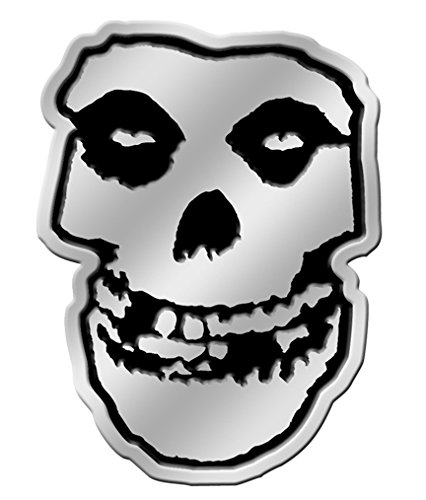 "The Misfits Skull in Silver STICKER, Original Licensed Symbol on Embossed METAL STICKER - Large 3.125"" Inches"