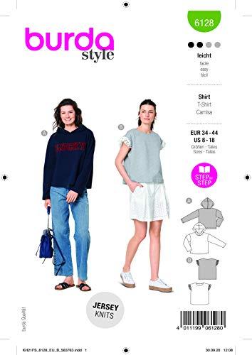 Burda 6128 Schnittmuster Shirt (Damen, Gr. 34-44) Level 2 leicht