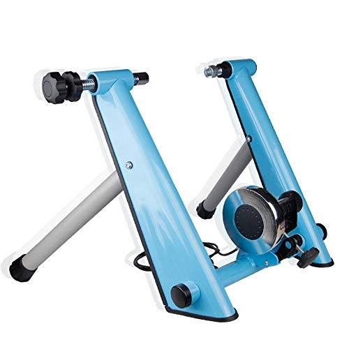 Yishelle Rodillo Entrenamiento Cubierta de Bicicleta de Ejercicios Turbo Trainer estacionario Entrenamiento Soporte Plegable portátil de Ciclo magnético Resistencia (Color : Azul, tamaño : Un tamaño)