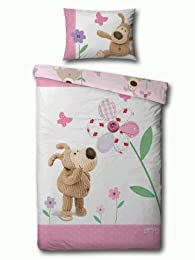cute pink cartoon dog bedding duvet cover set for dog-themed bedrooms