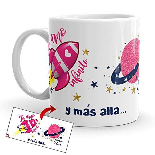 Kembilove Taza de Desayuno para Parejas con Bonitas Frases Te Amo hasta el Infinito - Regalo Original Taza con diseños Coloridos para Enamorados Novios y Novias San Valentín