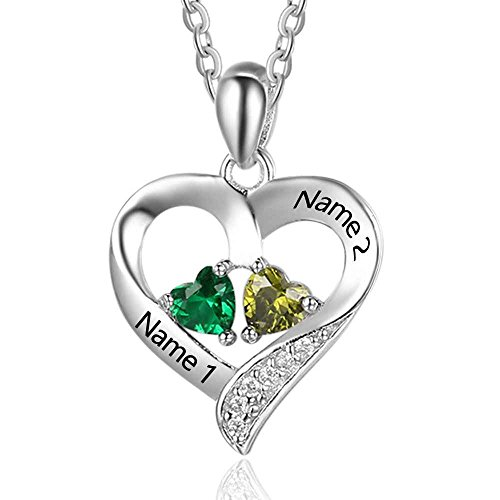 Love Jewelry Personalized 2 Names Necklace with 2 Heart Simulated Birthstone Couple Pendant Necklace for Women (Silver)