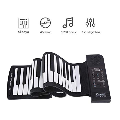 Find Bargain Hand roll Piano 61-Key Digital Pianos Portable Educational Toys Thickened Adult Contact...