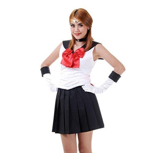 Setsuna Meioh Sailor Pluto Kostüm Japanische Schuluniform Baumwolle S M L XL (L, Schwarz & Weiß & Rot)