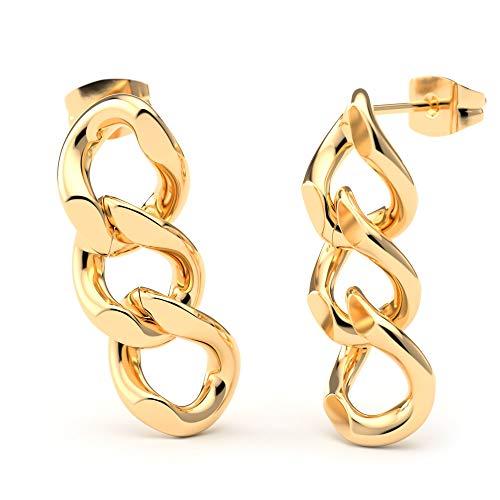 THIORA® - Kettenglieder Ohrringe | Kettenohrringe Damen | Chain Ohrstecker | Statement Schmuck | Rosegold Silber Gold Edelstahl (Gold)