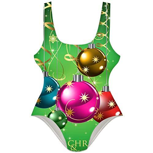 TIZORAX Merry Christmas & Happy New Year Traje de baño de una Pieza para Mujer L