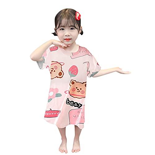 WOYAOFEI Summer cartoon children's dress short sleeve T-shirt dress for girls baby girls flowers cartoon dress princess dress pyjamas clothing - - 5 Years