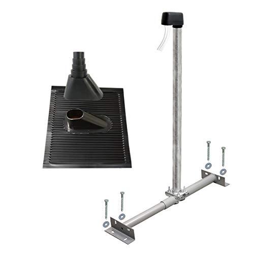 PremiumX Basic Dachsparrenhalter 100cm Mast Sparrenhalter für Satellitenschüssel Satellitenantenne   SAT TV Dach Antennenmontage Set schwarz