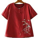 La camiseta de las mujeres, vintage estilo chino camiseta, camisa pequeña hebilla del V-cuello, mangas cortas sueltas casuales, ropa china que basa la camisa, blanco, rojo y azul se pueden seleccionar