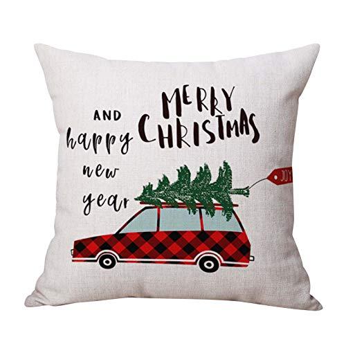 Zimmuy 1Pc Navidad Funda de Almohada Rojo 45x45cm Navidad Decoración Bonito Elemento de Navidad Dibujo Navidad Funda Cojines Rojo 18x18 Pulgada (C)