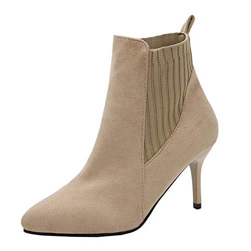 Botines De Tacón Mujer Zapatos Tacones Altos Fiesta Casual Zapatos Albaricoque 37 EU