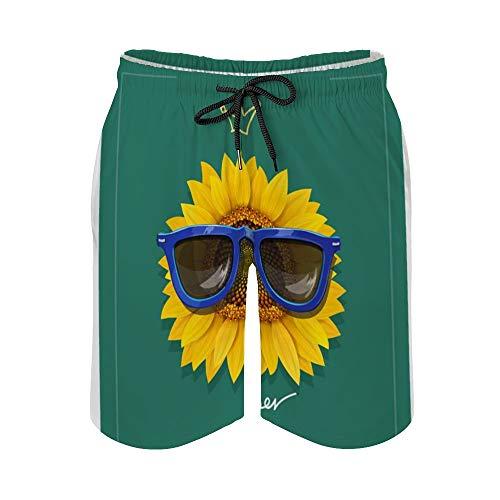 MayBlosom Pantalones cortos de playa para hombre, girasol con gafas de sol de secado rápido, traje de baño casual hawaiano, trajes de baño con elástico