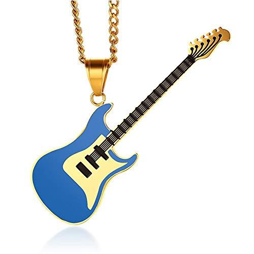 BOBIJOO JEWELRY - Großer Anhänger Halskette-Gitarre, Elektro-Rock, Stahl-Gold, Schwarz, Blau, Rot + Kette - (Farbe) Blau