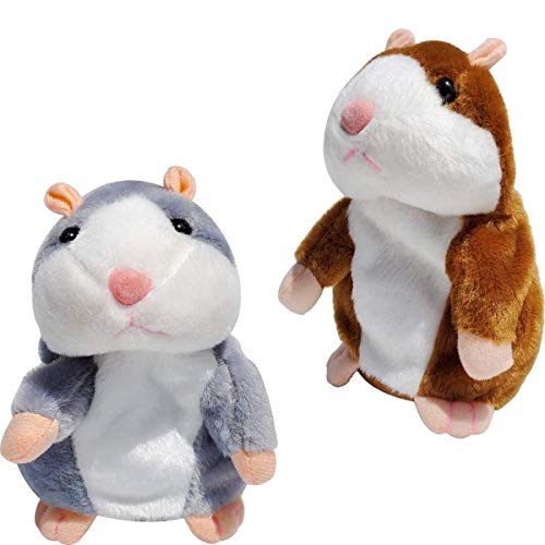 Tockrop 2 Pack Talking Hamster Mouse Plush Interactive Toy Repeat What You Say Mimicry Pet Talking Record for Toddlers Boys, Girls & Baby Gift Kids Early Learning 10