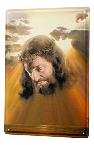 LEotiE SINCE 2004 Cartel De Chapa Iglesia Jesús Corona de Espinas Letrero De Metal 20X30 cm