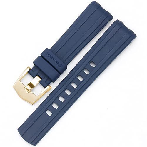 Correa de reloj para Omega SEAMASTER 007 PLANET OCEAN AT150 Hebilla de pasador Correa de reloj de silicona Accesorios de reloj Pulsera de reloj de goma (Color de la banda: Hebilla de oro azul, Ancho