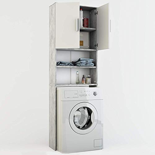 Vicco Waschmaschinenschrank 190 x 64 cm - Badregal Hochschrank Waschmaschine Bad Schrank Badezimmerschrank Überbau