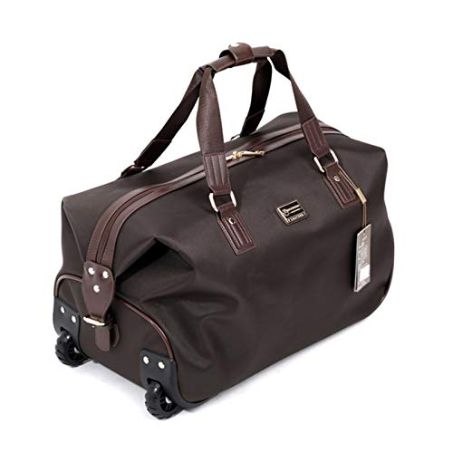 Gym Sports Duffle Bag Ladies Travel Holdall Bags Foldable Travel Bag Wheeled Light Weight Zipped Front Pocket Portable and Durable (Color : Brown, Size : 47X24X27CM)