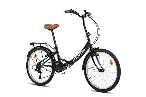 Moma Bikes Top Class 24 - Bicicleta Plegable Urbana, Cambio Shimano TZ-50 6 vel, Ruedas de 24″ con llantas de aluminio, color Negro