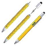 Shulaner Bolígrafos de herramienta de destornillador 6 en 1 con Destornilladores de cabeza Philips y Destornilladores Planos, Nivel de Burbuja, Regla y Lápiz Capacitivo, Amarillo(Agarre corto)