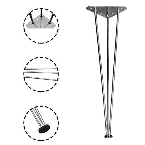 JRPT Furniture legs Tischbeine 63 / 73Cm Hoch MöBelfüßE,10 Mm Querschnitt,SchrankfüßE Mit Rutschfesten Füßen Platz Sparen/Silber / 63cm