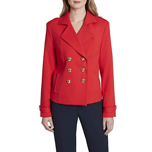Tahari ASL Women's Double Breasted Peacoat Jacket, Red, 10