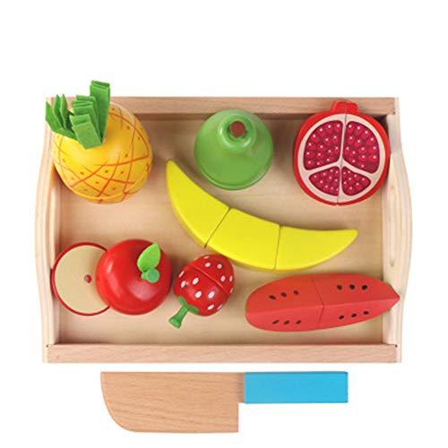AIUIN 9 pcs Juguetes de Cocina Cortar Frutas Verduras Juego de Madera Juguetes Eeducativos Alimentos de Corte Juguete del para Niños Bebé (Estilo 2)