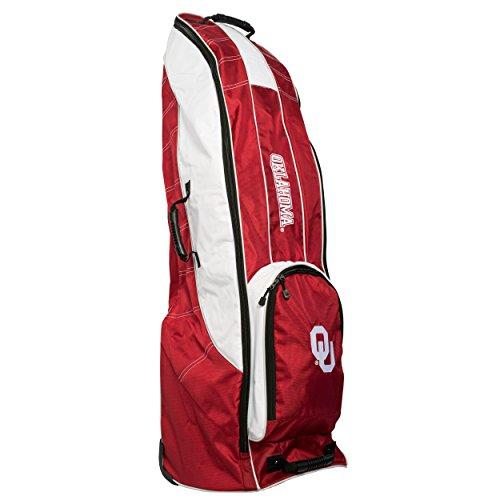 Team Golf NCAA Oklahoma Sooners Travel Golf Bag, High-Impact Plastic Wheelbase, Smooth & Quite Transport, Includes Built-in Shoe Bag, Internal Padding, ID Card Holder