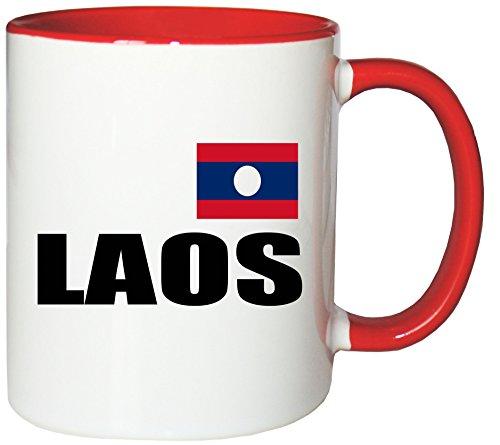 Mister Merchandise Kaffeetasse Laos Fahne Flag Teetasse Becher, Farbe: Weiß-Rot
