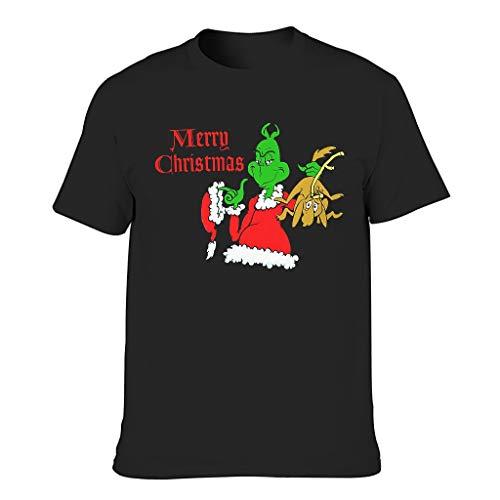 Christmas Seuss Print Men's Short-Sleeved Cotton Adult Crest Shirt - Black - S