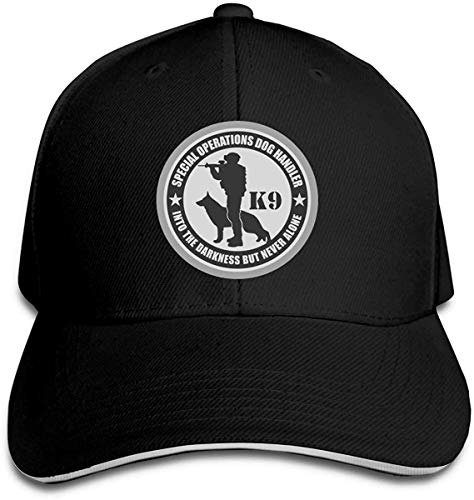Classic Police Military K9 Handler Special Operations Baseball Cap Adjustable Peaked Sandwich Hats Black