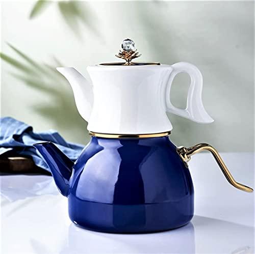 Tetera de porcelana esmaltada turca vintage doble contenedor esmalte turco tetera de cerámica nueva